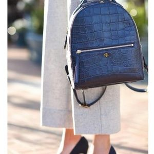 73df20d0c537 Tory Burch blue navy croc-embossed mini backpack b